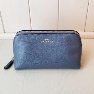 COACH crossgrain cosmetic case bag dusk blue, new!